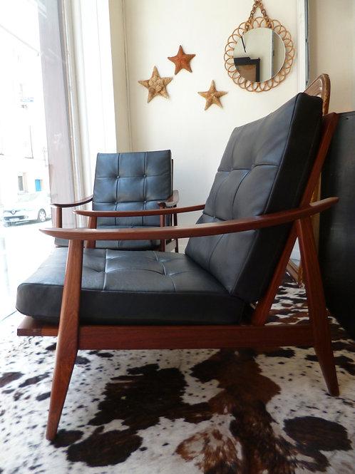 Paire de fauteuils scandinave en palissandre