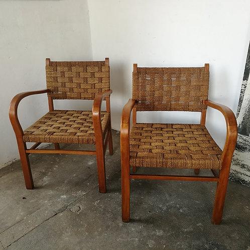 Paire de fauteuils en cordage Vroom and Dreesmann