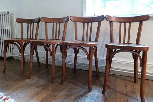Série de 4 chaises Bistros 1930