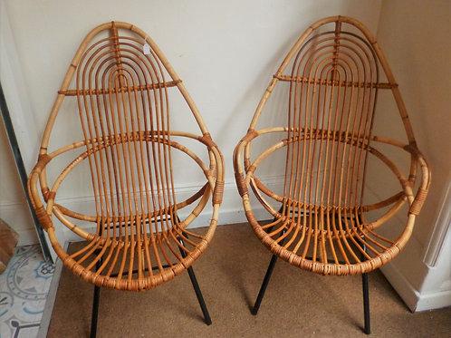 Rare paire de fauteuils rotin