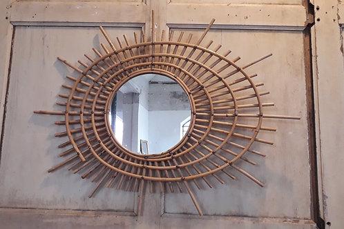 Grand miroir ellipse en rotin