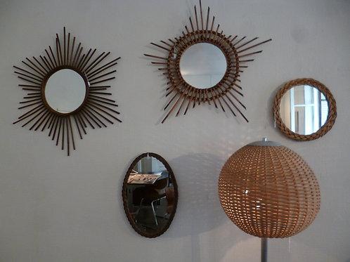 Miroirs soleils vintage en rotin