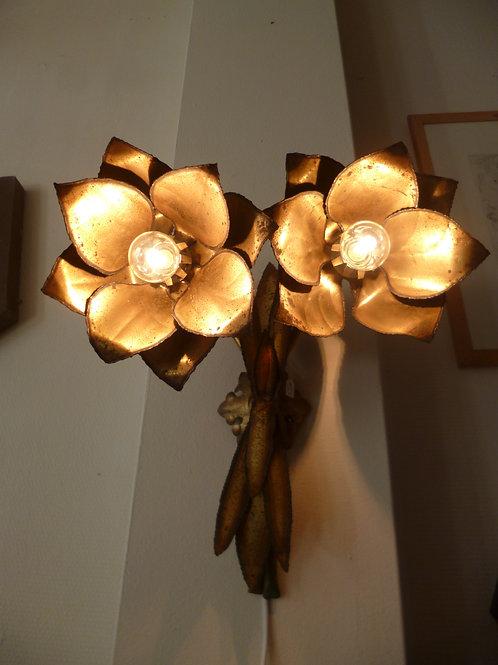 applique fleur en métal doré