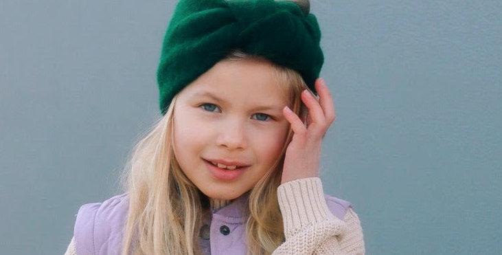 CHILDRENS KNOT HEADBAND EMERALD GREEN