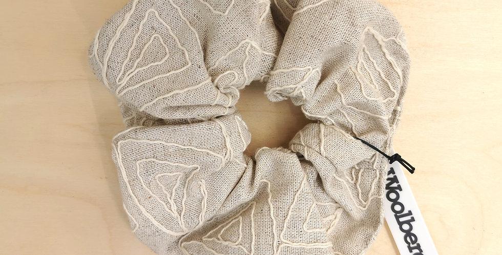 Big Natural color  embroidered scrunchie