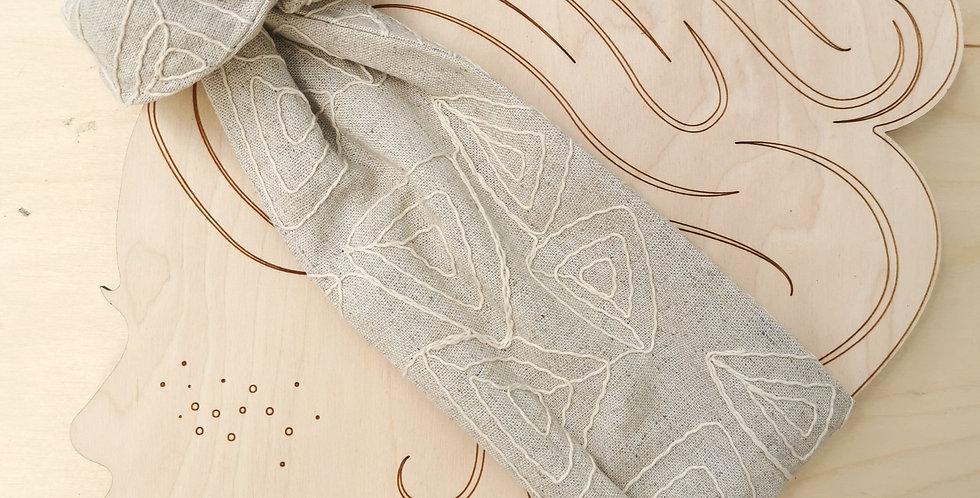 WIRE HEADBAND Natural Embro, linen blend
