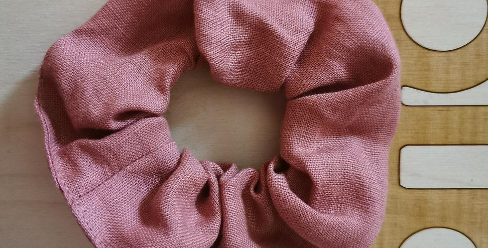 Big old rose linen hair scrunchie