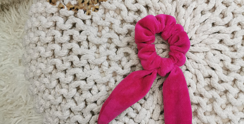 Berry Velour hair scrunchie with bow