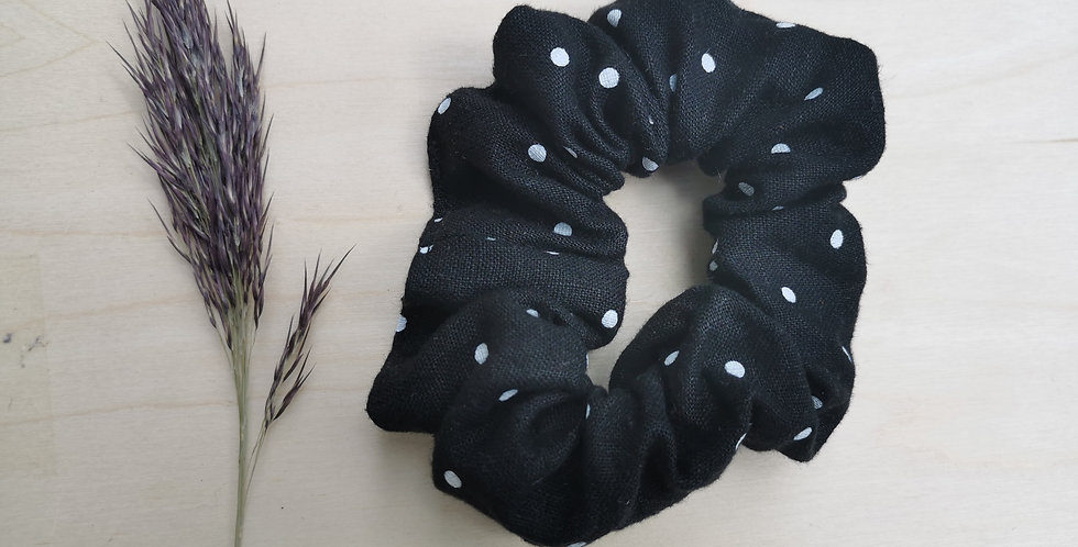 Big Black with Dots hair scrunchie