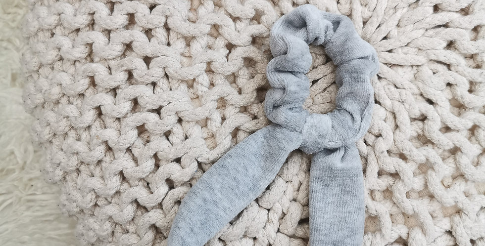 Gray Velour hair scrunchie with bowGray