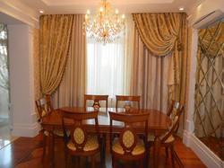 Портьерные шторы для гостиной в столовую зону.
