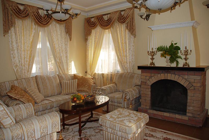 шторы для загородного дома или дачи в гостиную.