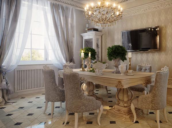 Классические шторы для гостиной в столовую зону