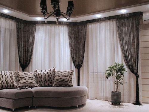 Нити - верёвочные шторы для гостиной.