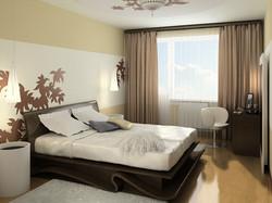 Шторы для спальни в стиле минимализм.