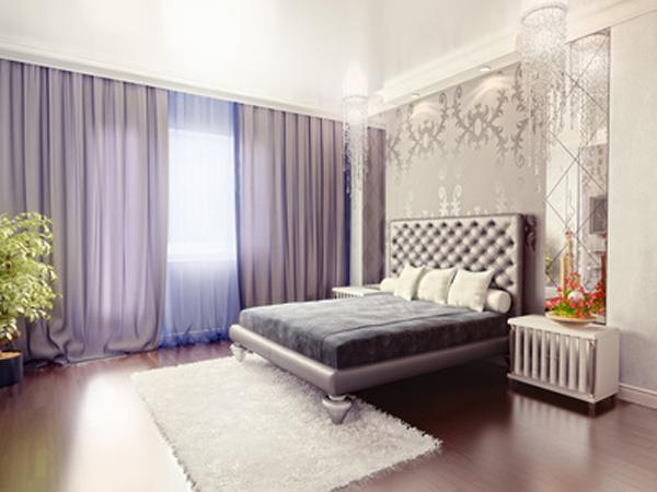 Потолочные шторы для спальни.