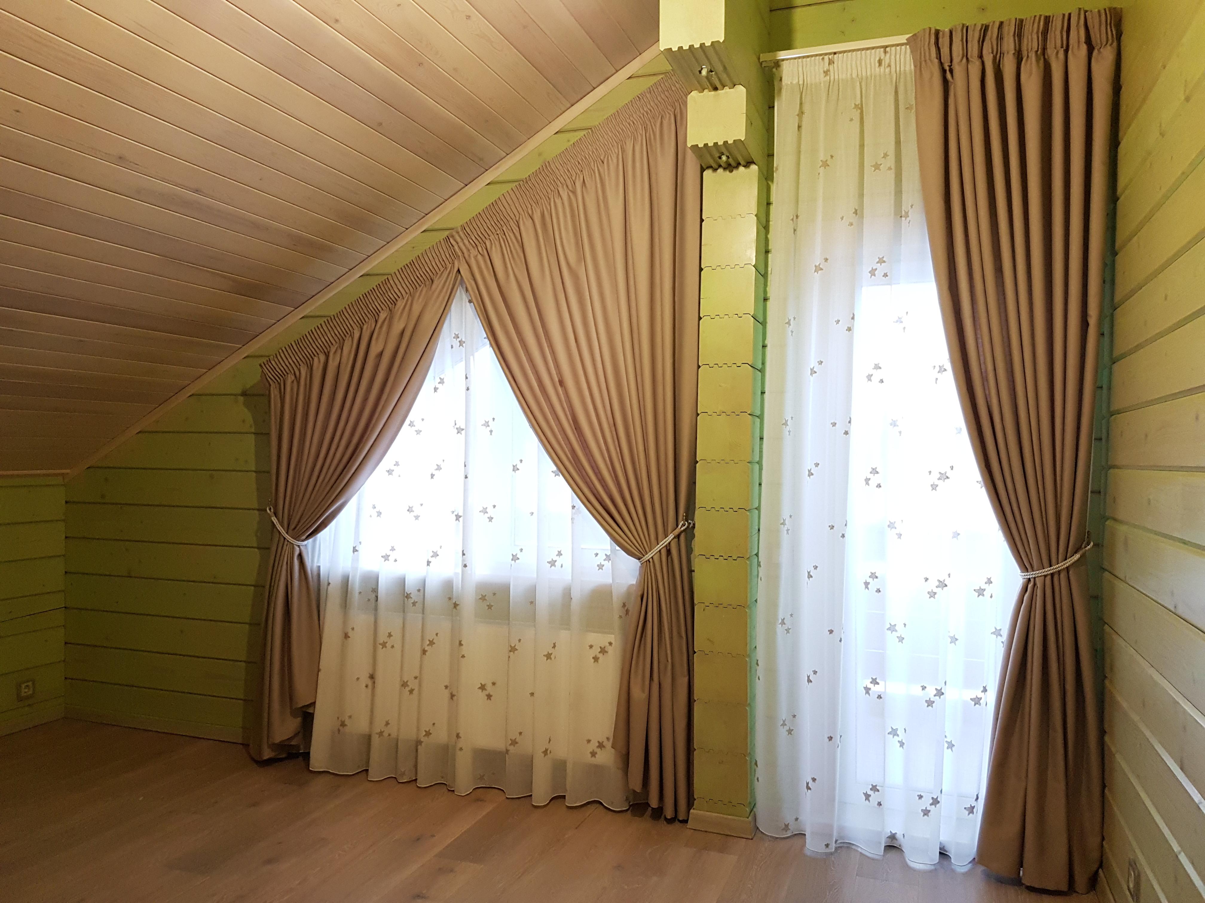 шторы на косое окно на заказ