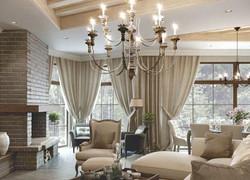 Льняные шторы для зала.