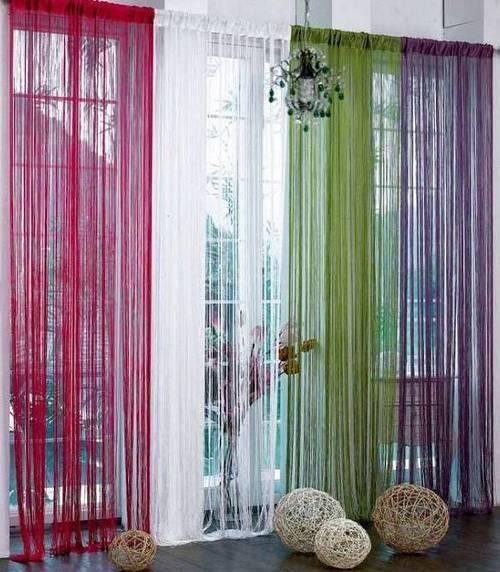 Нити - верёвочные шторы для детской.