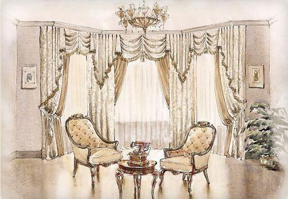 Дизайнерские шторы для зала.
