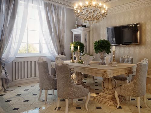 Классические шторы для гостиной в столовую зону.