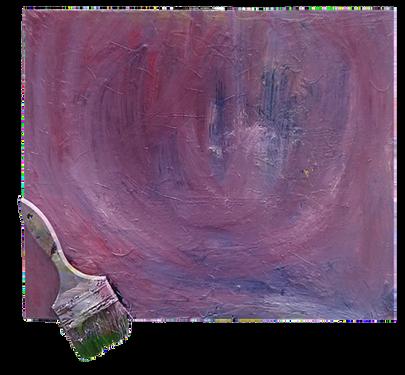 김영우, Out of frame, 화가의 휴식, 2017      캔버스에 아크릴, 유화, 페인트 붓 그리고 못, 455x380mm