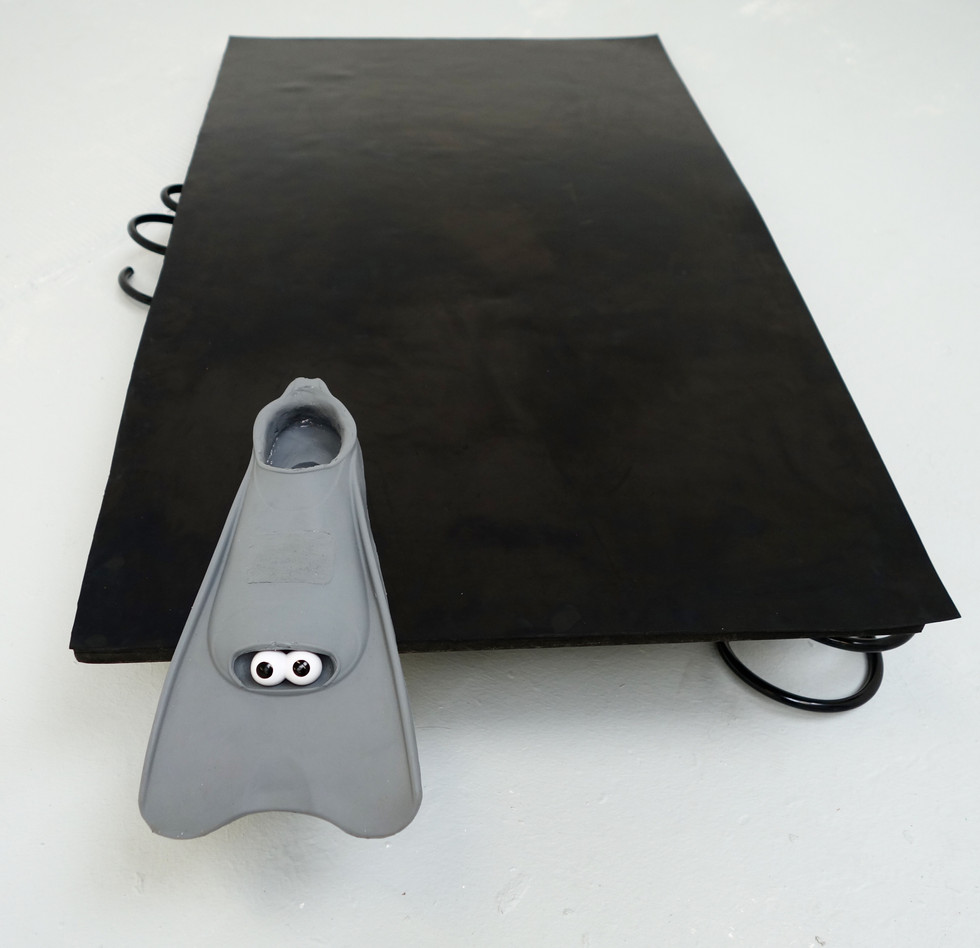 silicone flipper, metal springs, rubber, mdf, plastic eyes