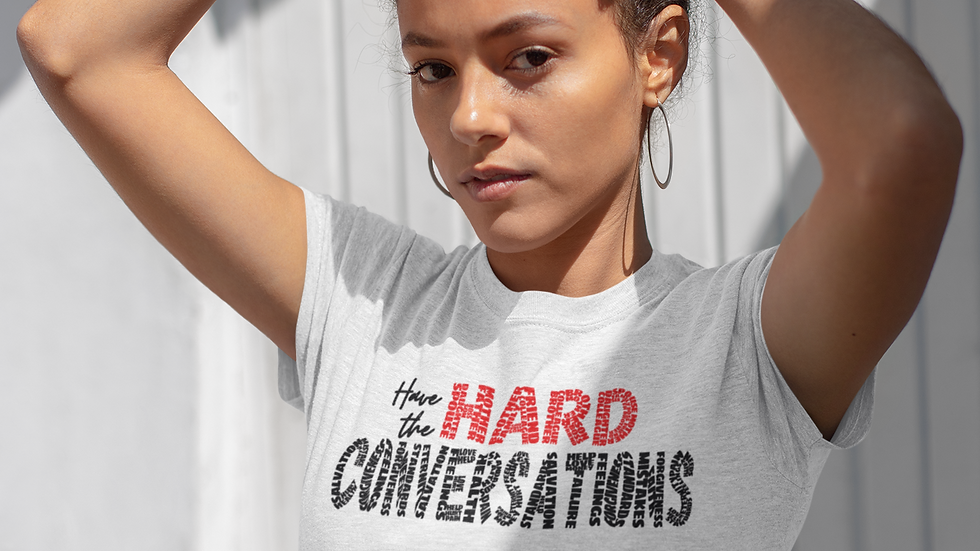 Hard Questions (Black/Red print) short sleeve t-shirt