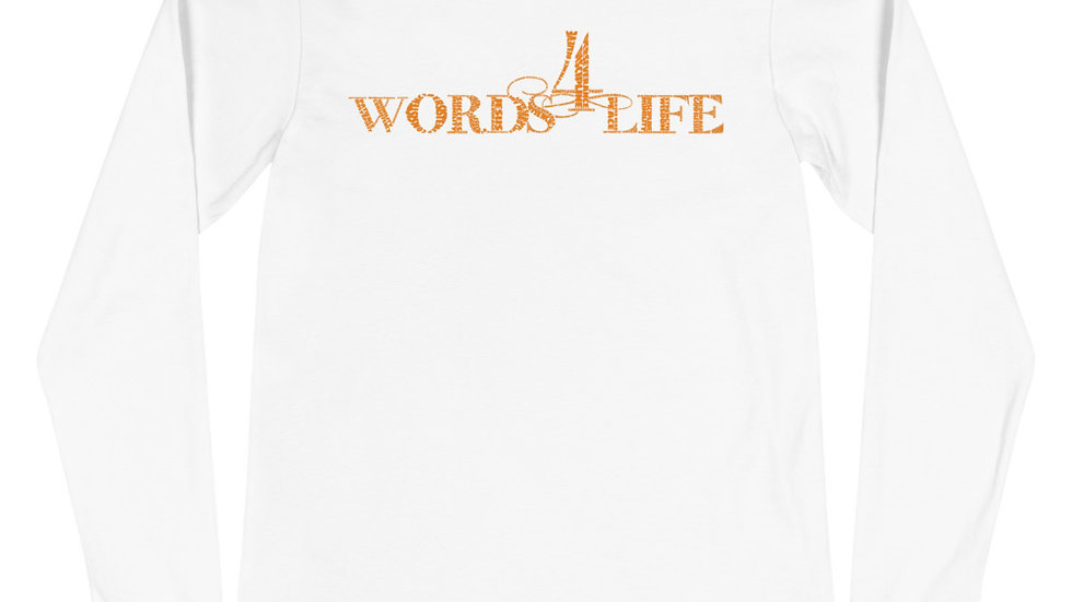 Words 4 Life (orange print) long sleeve t-shirt