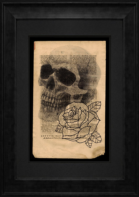Skull & Rose on Newspaper from June 6th 1713 - Original