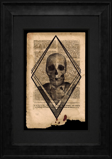 Gent Skull on Newspaper from August 22nd 1713 - Original