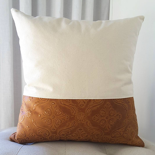 Embossed Leather Pillow