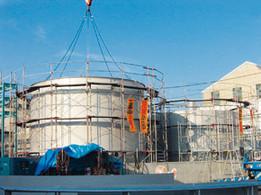 360m3SUSタンク現地工事(中仕切型・撹拌機付)