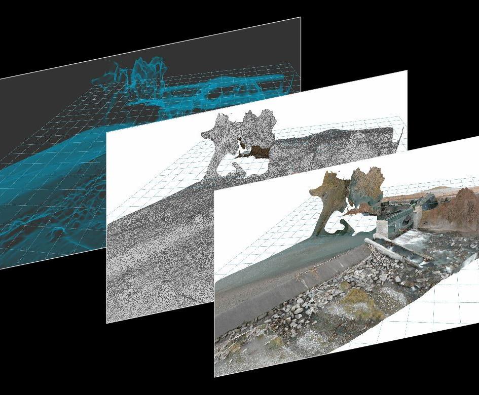 Rilievo integrativo con drone mediante nuvola di punti ed elaborazione grafica sistemazione scala ittiofauna
