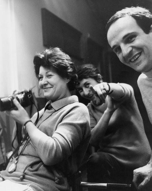 Kay Mander with François Truffaut on the set of Fahrenheit 451 (1966)