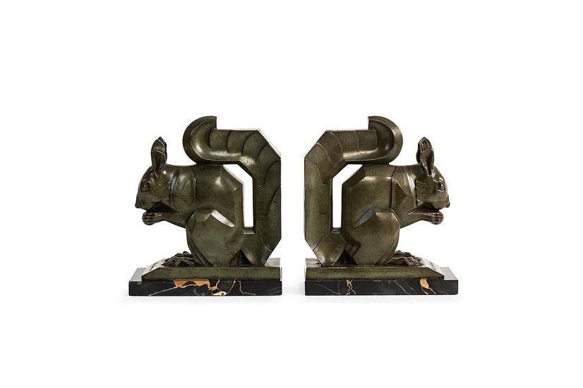 MAX LE VERRIER – Grand Modèle Bookends Ecureuils – c.1930 -