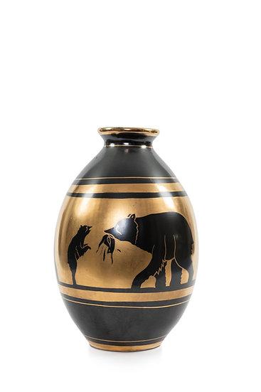 1151 BOCH FRERES KERAMIS - CHARLES CATTEAU - Vases Ourses Or Noir