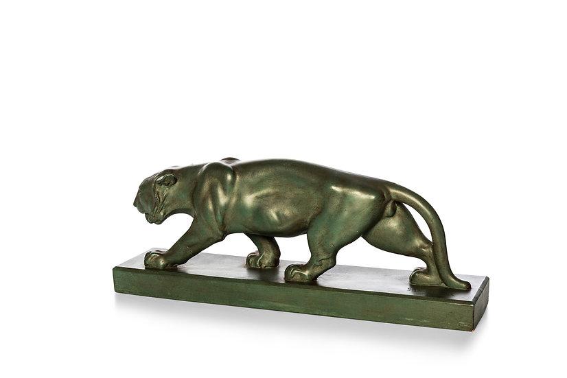 G. DEMANGE – Hunting Tiger in baked earthenware – c. 1930