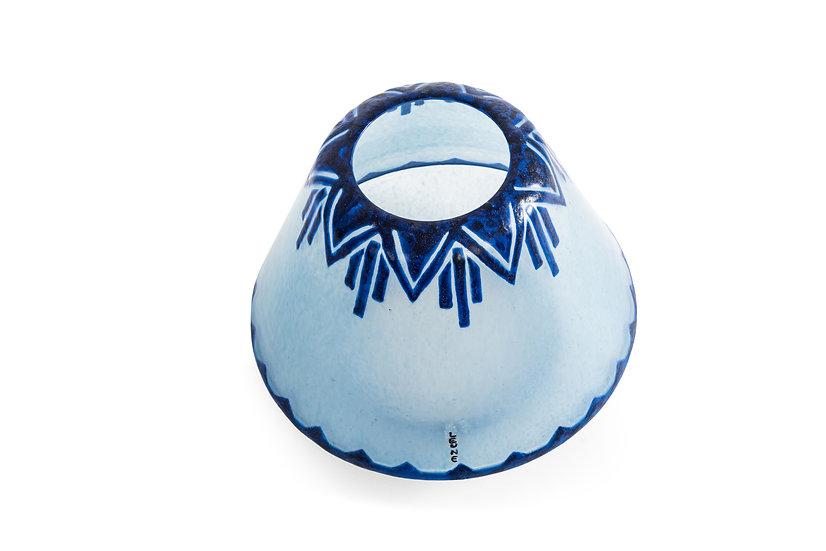 VERRERIE DE LEUNE - AUGUSTE HEILIGENSTEIN - Vase Bleue - c.1926