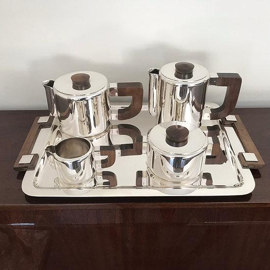 L'ORFEVRERIE CHRISTOFLE – LUC LANEL – Tea and coffee set  marabout beaks – 1936