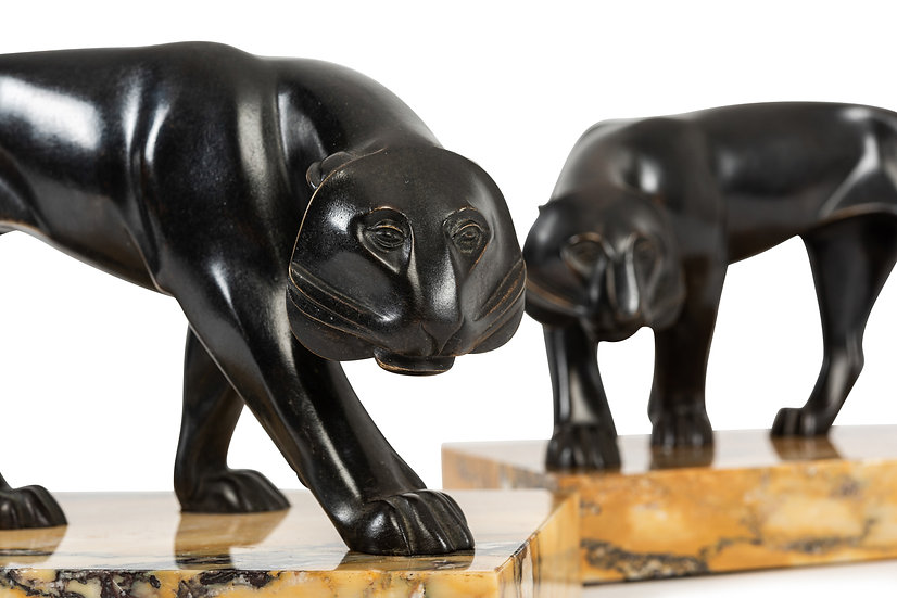 ALEXANDER ZANKOFF- Pair of Panthers Bookends – c. 1930