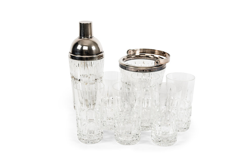 WOLFERS FRERES – Cocktail Set – Shaker, Ice Bucket with 6 Glasses – 1950 -