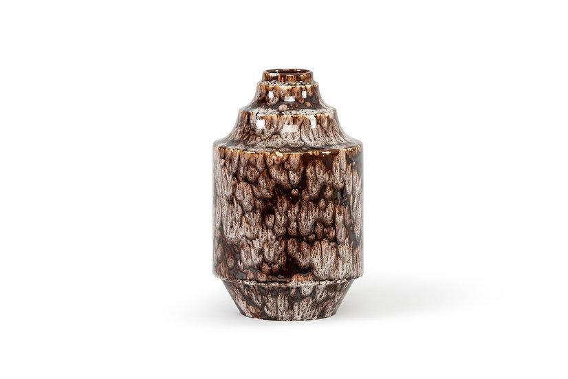 BOCH FRERES KERAMIS – RAYMOND CHEVALIER - Vase Brown & White Stain – c. 1940 -