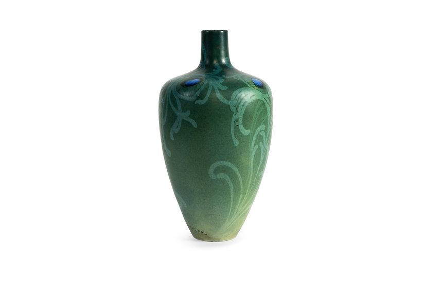 EDMOND LACHENAL - Peacock Feathers Art Nouveau Vase - c.1900