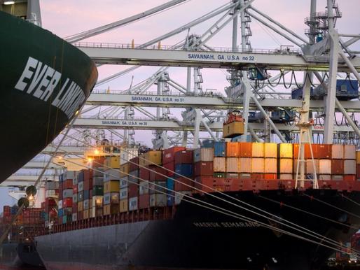 Port Logjams Reach Savannah as Container Ships Idle off Georgia Coast