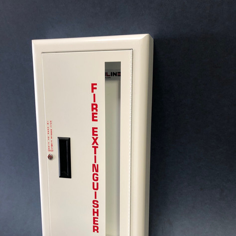 SL-1120 White Cabinet Vertical Glass with Lock & Red Letters