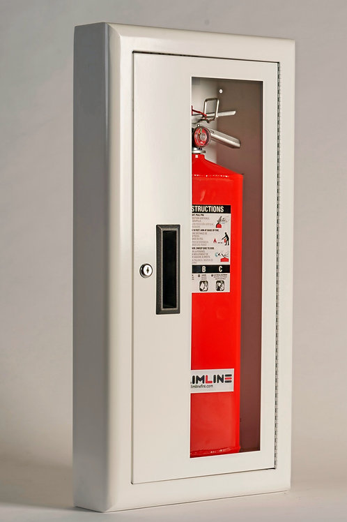SL 1120 White Cabinet Red Letter Partial Glass with Lock