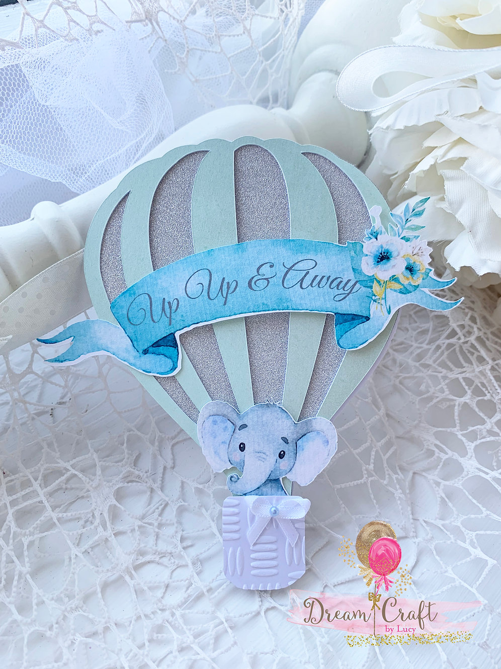 Hot Air Balloon Invitation In Mint And Silver Dreamcraftbylucy