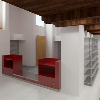 Imagen virtual   Diseño de interiores   muebles sobre diseño   Remodelación de local comercial.