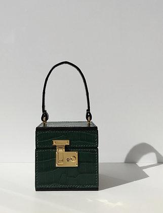 Cyprus Green Exotic Crocodile Leather Handcrafted Box Bag Top Handle Bag
